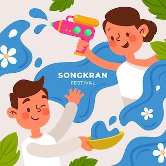 Hand getrokken songkran illustratie
