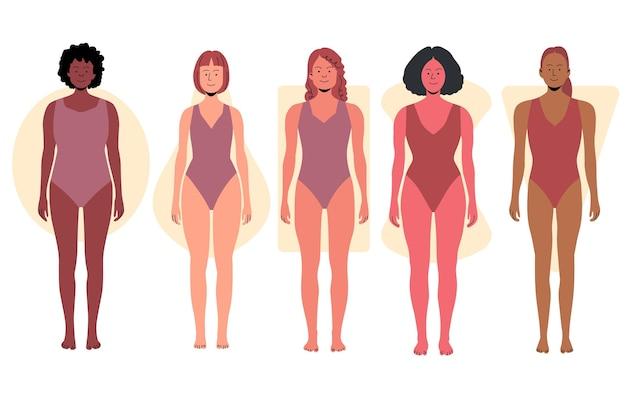 Hand getrokken soorten vrouwelijke lichaamsvormen collectie