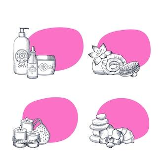 Hand getrokken spa elementen stickers