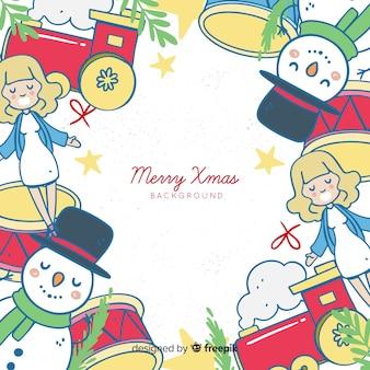 Hand getrokken speelgoed frame kerst achtergrond
