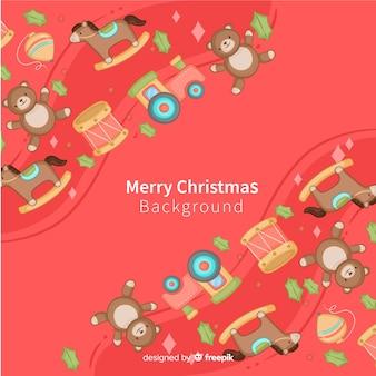 Hand getrokken speelgoed kerstmis achtergrond