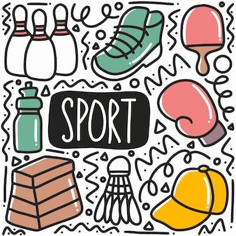 Hand getrokken sport doodle set met pictogrammen en ontwerpelementen