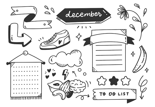 Hand getrokken sport of lichaamsbeweging thema dagboek doodle element