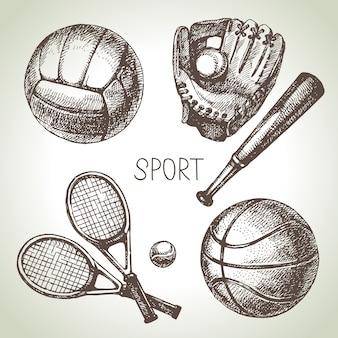 Hand getrokken sport set. schets sportballen. illustratie