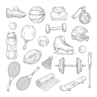 Hand getrokken sportartikelen. medaille, basketbal- en rugbybal, shuttle en voetbalhelm