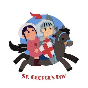 Hand getrokken st. george's day illustratie met ridder en prinses