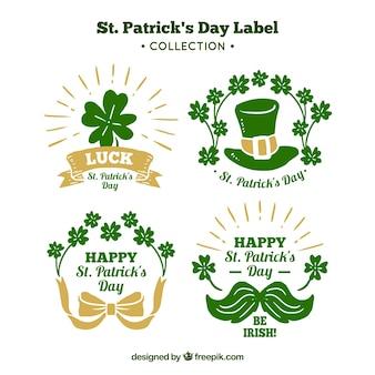 Hand getrokken st. patrick's day badge / label collectie