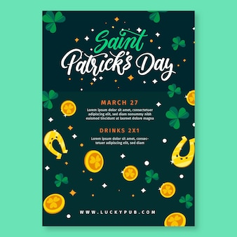 Hand getrokken st. patrick's day flyer-sjabloon
