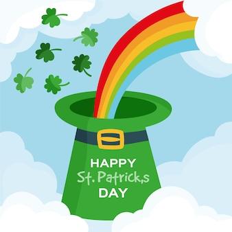 Hand getrokken st. patrick's day hoed met regenboog