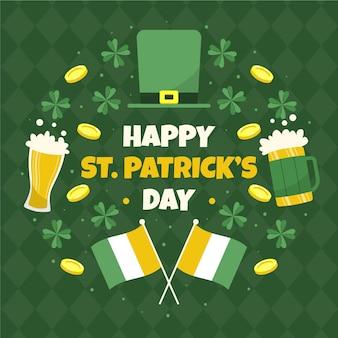 Hand getrokken st. patrick's day illustratie met vlaggen en bier