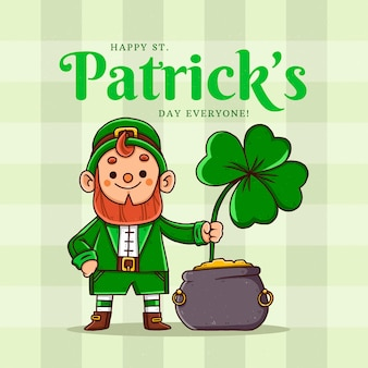 Hand getrokken st. patrick's day kabouter