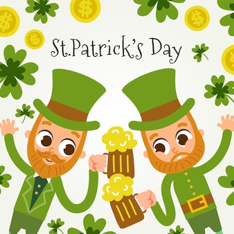 Hand getrokken st. patrick's day kabouters