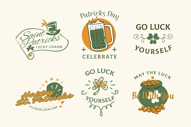 Hand getrokken st. patrick's day label / badge set