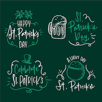 Hand getrokken st. patrick's day labelcollectie