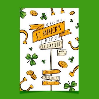 Hand getrokken st. patrick's day poster sjabloon