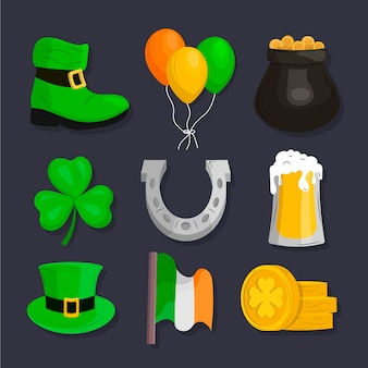 Hand getrokken st patricks dag element collectie