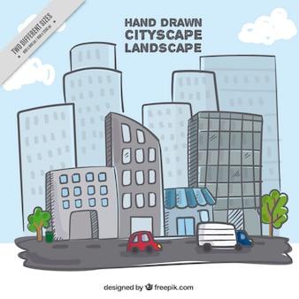 Hand getrokken stad met een hoog oploopt achtergrond