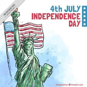 Hand getrokken standbeeld van de vrijheid met vlag achtergrond