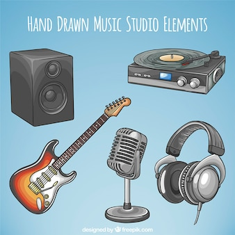 Hand getrokken stereo-installatie met elektrische gitaar