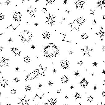 Hand getrokken sterren doodles schattig naadloze patroon kinderachtig nachtelijke hemel schets tekeningen vector texture