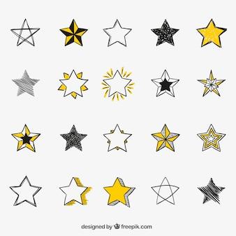 Hand getrokken sterren iconen
