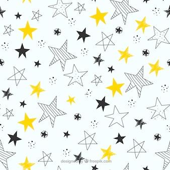 Hand getrokken sterren patroon achtergrond