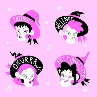 Hand getrokken stickers met roze en zwarte heksen set