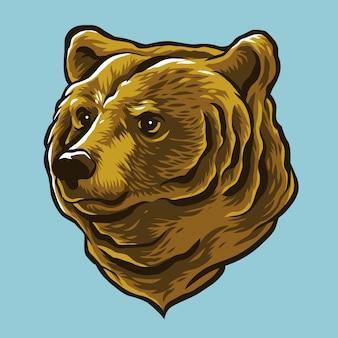 Hand getrokken stijl beer hoofd voor illustratie ontwerpelement