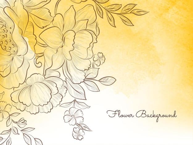 Hand getrokken stijl bloem gele pastel decoratieve achtergrond vector