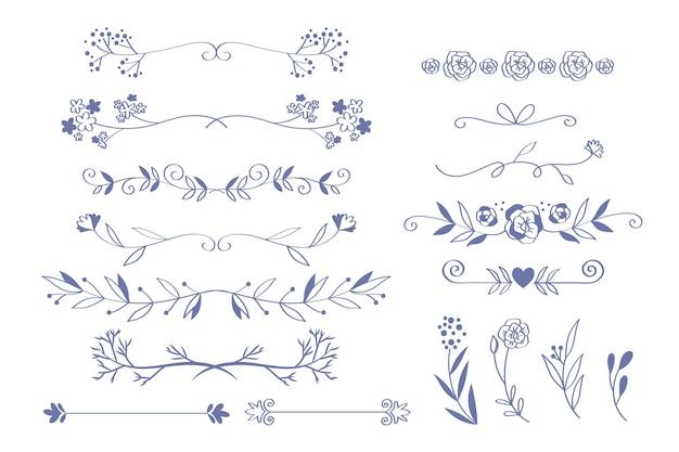 Hand getrokken stijl bruiloft ornamenten