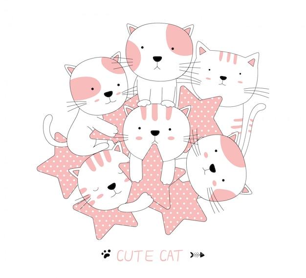 Hand getrokken stijl. cartoon schets het schattige baby kat dier met ster