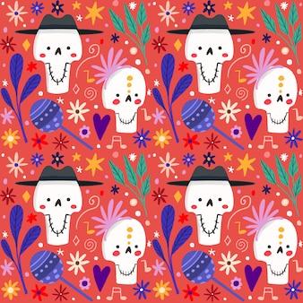 Hand getrokken stijl dag van het dode patroon