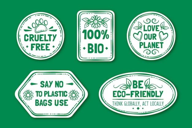 Hand getrokken stijl ecologie badges
