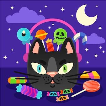 Hand getrokken stijl halloween kat tas