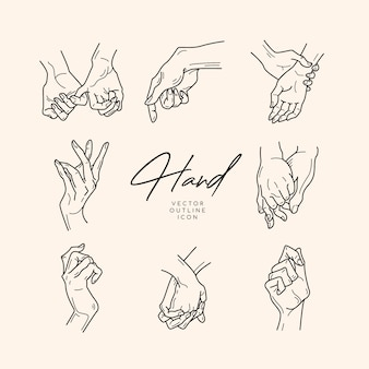 Hand getrokken stijl handen. mode, huidverzorging en liefde concept illustraties.