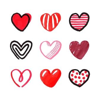 Hand getrokken stijl hart collectie