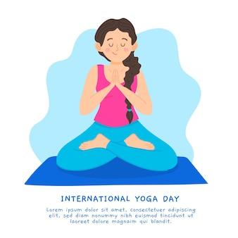 Hand getrokken stijl internationale dag van yoga