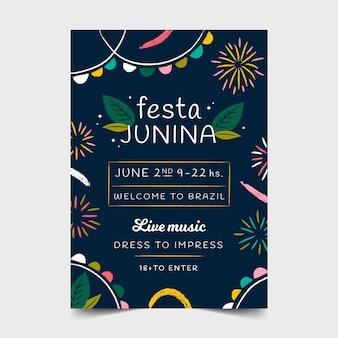 Hand getrokken stijl juni festival flyer