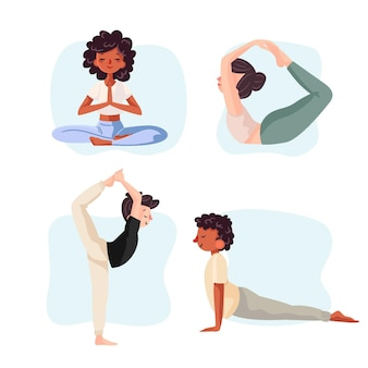 Hand getrokken stijl mensen die yoga doen