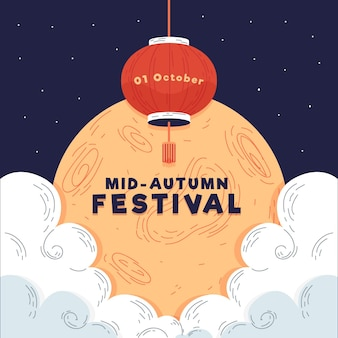 Hand getrokken stijl mid-autumn festival
