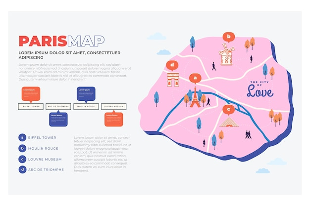 Hand getrokken stijl parijs kaart infographics