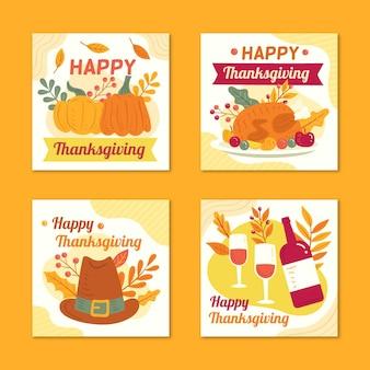 Hand getrokken stijl thanksgiving instagram-berichten
