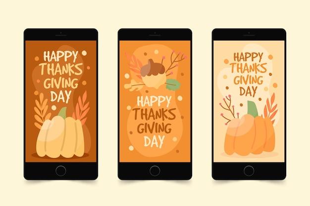 Hand getrokken stijl thanksgiving instagramverhalen