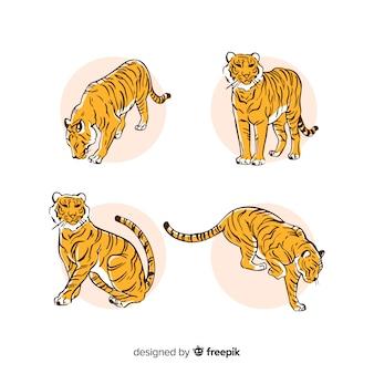 Hand getrokken stijl tijger collectie