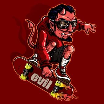 Hand getrokken stijl van duivel paardrijden skateboard