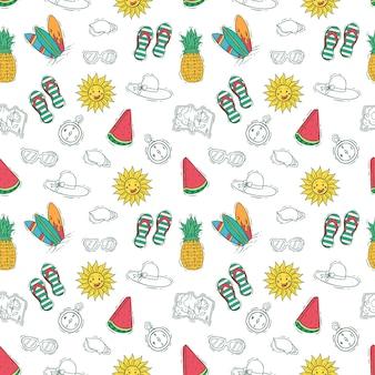 Hand getrokken stijl van zomer pictogrammen of elementen in naadloze patroon