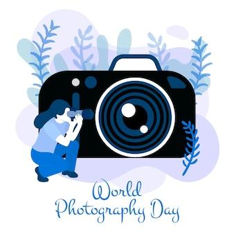 Hand getrokken stijl wereld fotografie dag