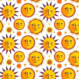 Hand getrokken stijl zon patroon