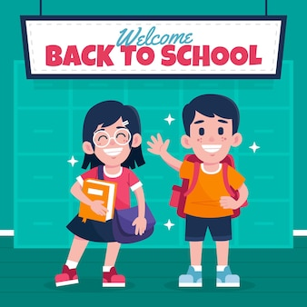 Hand getrokken stijlkinderen terug naar school