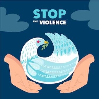 Hand getrokken stop de illustratie van het geweld Gratis Vector
